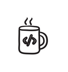 Cup of coffee with code sign sketch icon vector
