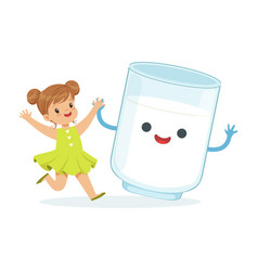 cute little girl and funny milk glass with smiling vector image