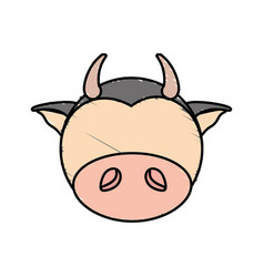 drawing cow face animal vector image vector image