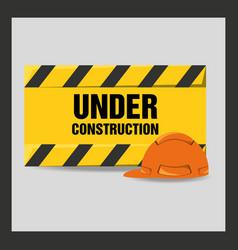 Flat under construction warning vector