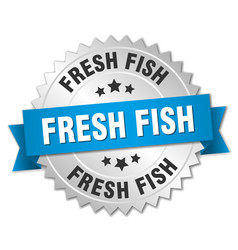 Fresh fish 3d silver badge with blue ribbon vector