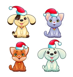 Funny christmas dogs and cats vector