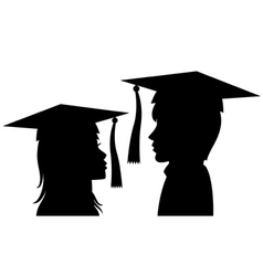 graduates young man and woman vector image vector image