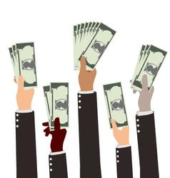 Group of Diversity Busibess Hand Holding Money vector image vector image