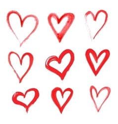Hand drawn heart set with different tools vector