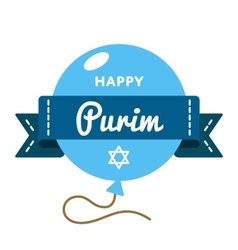 Happy purim holiday greeting emblem vector