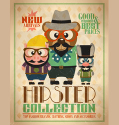 Hipster collection animal hipsters vector