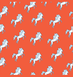 medieval seamless pattern with white horse vector image vector image