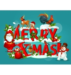 Merry christmas poster with snowy letter and santa vector