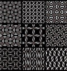 Metal netting seamless backgrounds set vector image vector image