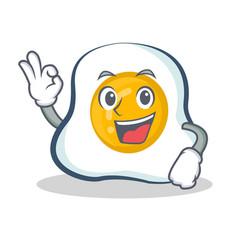 Okay fried egg character cartoon vector