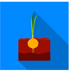 onion icon flat single plant icon from the big vector image vector image