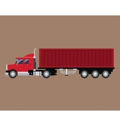 Red truck trailer container delivery transport vector