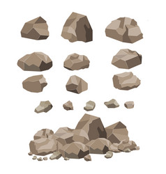 Rock stone big set cartoon vector