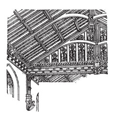 Roof of nave st marys westonzoyland vintage vector