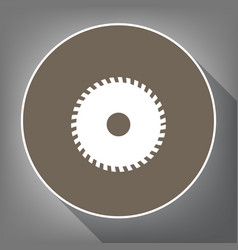 saw sign  white icon on brown circle with vector image