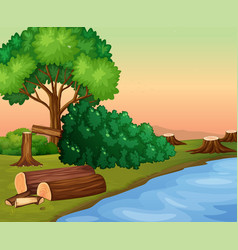 Scene with chopped woods by the river vector