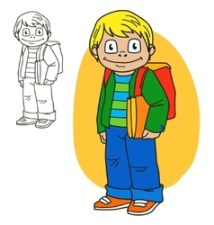 Schoolboy coloring book page vector