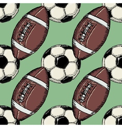 seamless background with football balls vector image