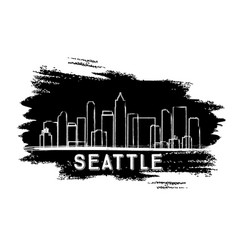 seattle skyline silhouette hand drawn sketch vector image vector image