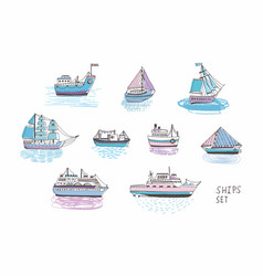 set of different isolated doodle ships yachts vector image vector image