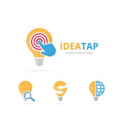 Set of lamp logo combination lightbulb and cursor vector