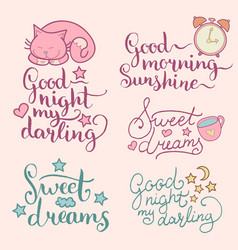 Set of night cute cartoon vector
