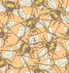 Sketch bee and bow in vintage style vector