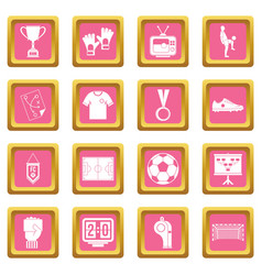Soccer football icons pink vector