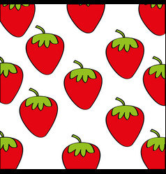Strawberries pattern fresh fruit drawing icon vector