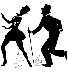 Tap dancers in top hats silhouette vector image vector image