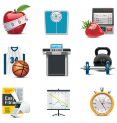 vector fitness icon set vector image