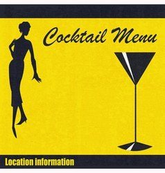 Vintage cocktail menu background vector