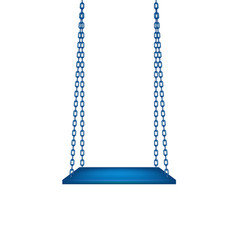 Wooden blue swing hanging on blue chains vector