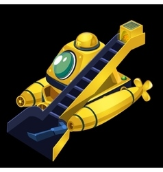 Yellow submarine cleaner of garbage vector image
