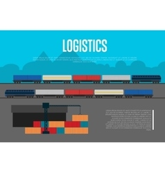 Logistics banner with freight train vector