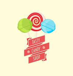 Candy shop logo sign or symbol design template vector