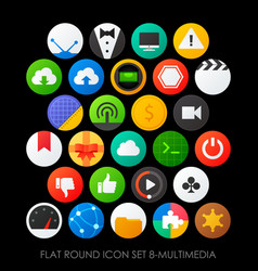 Flat round icon set 8-multimedia vector