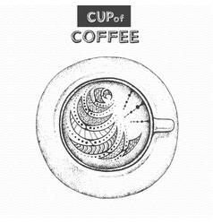 decorative sketch of cup of coffee or tea vector image
