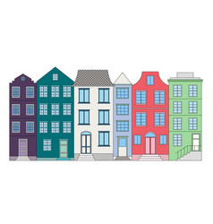 Row of color houses vector