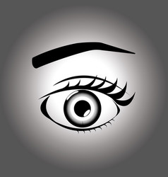 open eye on a gray background vector image