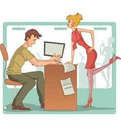 Flirt at work vector