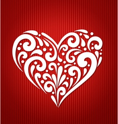 Decorative white heart on a red background vector image