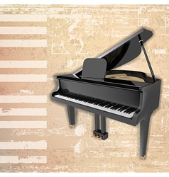 Abstract beige grunge background with grand piano vector