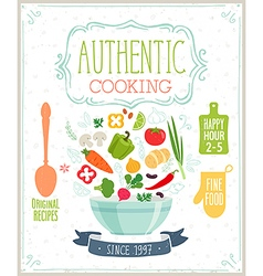 Authentic cooking poster vector