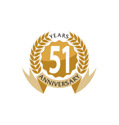 51 years ribbon anniversary vector image