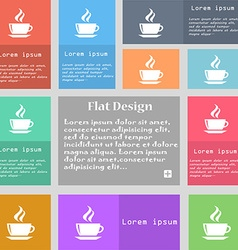Tea coffee icon sign set of multicolored buttons vector