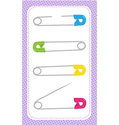 Four safety pins vector