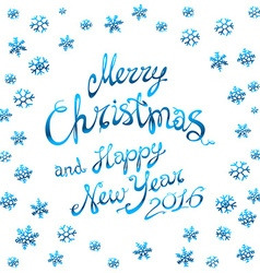 template blue glowing Merry Christmas blue vector image