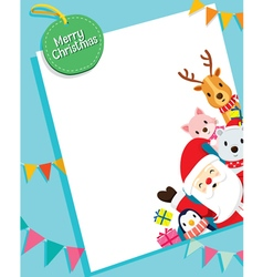 Christmas card with santa claus and animals vector